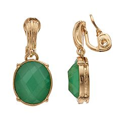 Dana Buchman Gold Tone Green Simulated Clip-On Drop Earrings