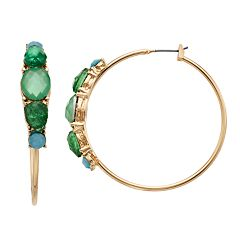 Dana Buchman Gold Tone Blue & Green Simulated Crystal Hoop Earrings
