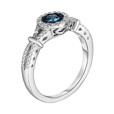 Sterling Silver 1/4 Carat T.W. Colored Diamond Halo Ring