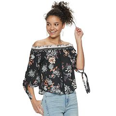 Juniors' Live To Be Spoiled Floral Off-The-Shoulder Blouse