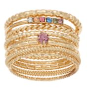 LC Lauren Conrad Gold Tone Simulated Stone & Crystal Textured Ring Set