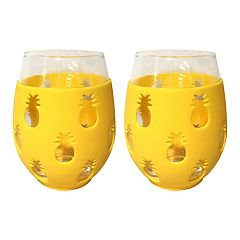 Celebrate Summer Together 2-pc. Pineapple Silicone Stemless Wine Glass Set