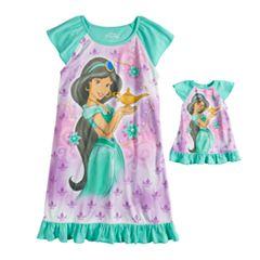 Disney Princess Jasmine Girls 4-8 Ruffled Dorm Nightgown & Doll Nightgown
