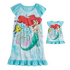 a01a347a83 Disney s The Little Mermaid Ariel Girls 4-8 Dorm Nightgown   Doll Nightgown