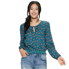 Juniors' Cloud Chaser Tie-Front Smocked Peasant Top