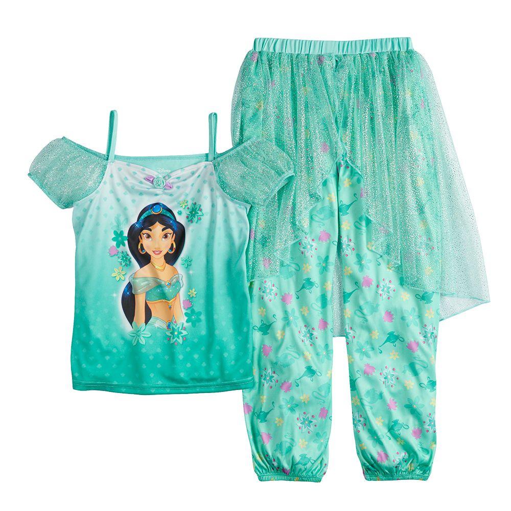Disney's Aladdin Jasmine Girls 4-8 Top & Bottoms Fantasy Pajama Set