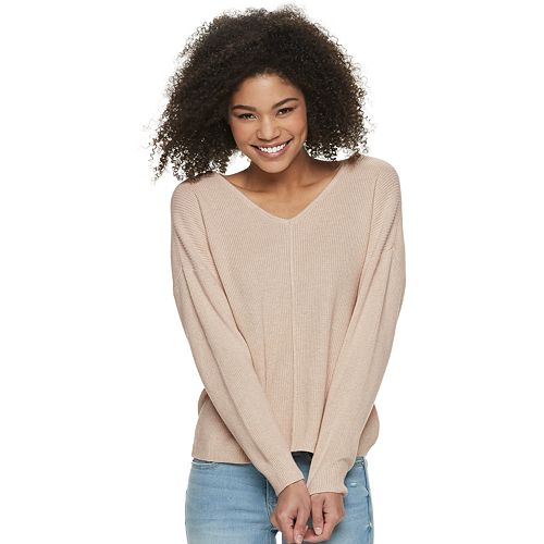 Juniors' Pink Republic Button Back Pullover Sweater