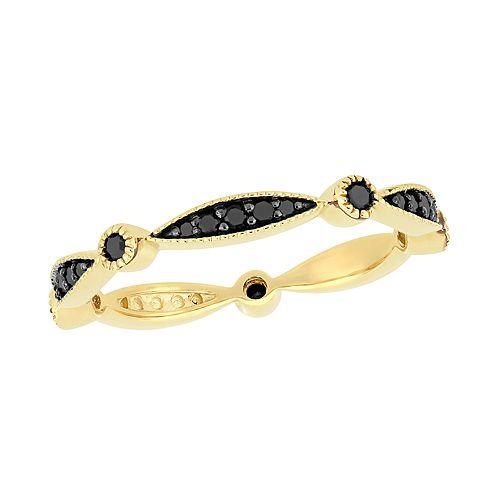 Stella Grace 10k Gold 1/4 Carat T.W. Black Diamond Band