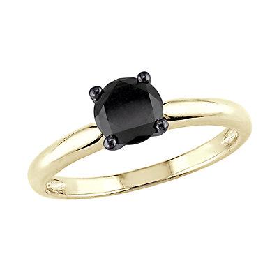 Stella Grace 14k Gold 1 Carat T.W. Black Diamond Solitaire Ring