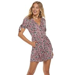 Juniors' Speechless Floral Print Button Front Dress