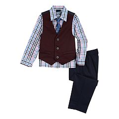 Toddler Boy IZOD Denim Knit Vest, Plaid Shirt & Pants Set