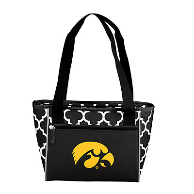 Logo Brand Iowa Hawkeyes Quatrefoil 16-Can Cooler Tote