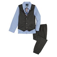 Toddler Boy IZOD Herringbone Knit Vest, Shirt, Tie & Pants Set