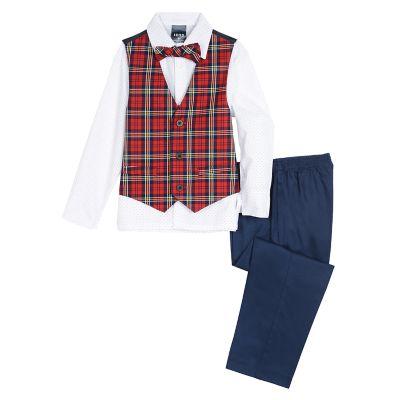 Toddler Boy IZOD Holiday Plaid Vest, Shirt, Bow Tie & Pants Set
