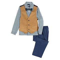 Toddler Boy IZOD Corduroy Vest, Plaid Shirt, Bow Tie & Pants Set