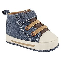 Baby Boy Wee Kids Denim & Canvas Hi Top Sneaker Crib Shoes