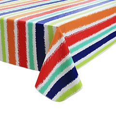 Celebrate Summer Together Striped Vinyl Tablecloth