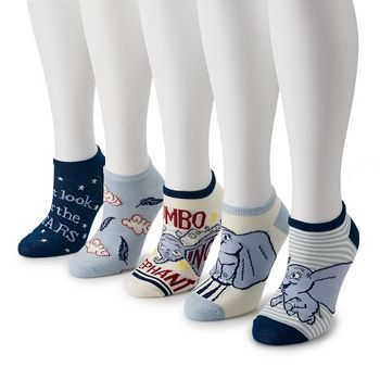 Disney's Dumbo Women's 5-Pack No-Show Socks