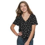 Juniors' SO® Button-Up Tie-Front Short Sleeve Top