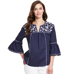 Women's IZOD Bell-Sleeve Embroidered Peasant Top