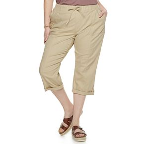 Juniors' Plus Size SO® Knit Waist Roll Tab Hem Skimmer Pants