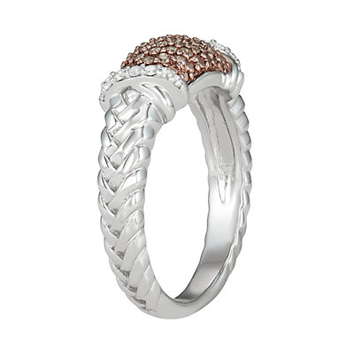 Sterling Silver 1/3 Carat T.W. Champagne & White Diamond Ring