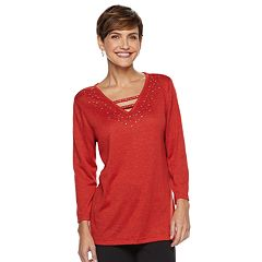 Women's Cathy Daniels Embellished Ladder-Neck Top