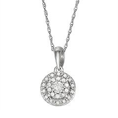 14k White Gold 1/8 Carat T.W. Diamond Halo Pendant Necklace