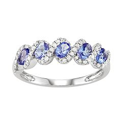 14k White Gold Tanzanite & 1/3 Carat T.W. Diamond 5-Stone Ring