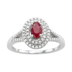 14k White Gold Ruby & 1/3 Carat T.W. Diamond Halo Ring