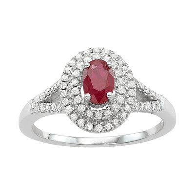 14k White Gold Ruby & 1/3 Carat T.W. Diamond Halo Ring