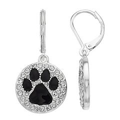Silver Tone Simulated Stone Paw Print Drop Earrings