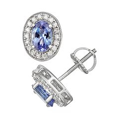 Sterling Silver Tanzanite & 1/5 Carat T.W. Diamond Oval Halo Stud Earrings