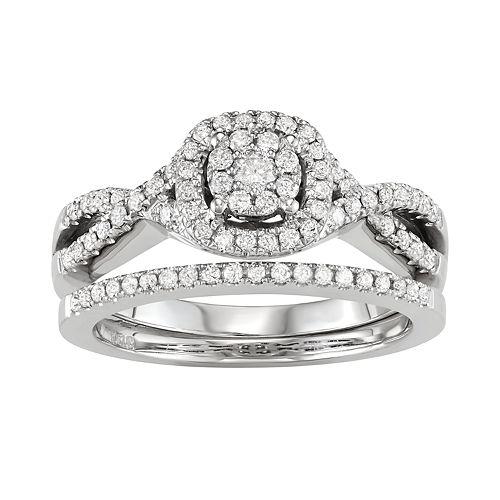 10k White Gold 1/2 Carat T.W. Diamond Engagement Ring Set