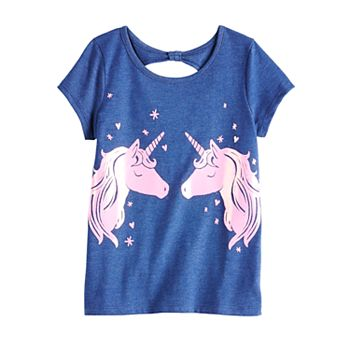 Girls 4-12 Jumping Beans® Bow-Back Unicorn Tee