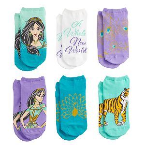 Disney's Aladdin Women's 6-Pack No-Show Socks