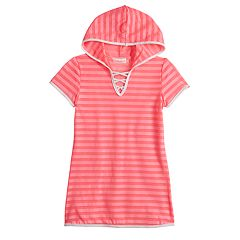 Girls 7-16 Free Country Mesh Stripe Hooded Swimsuit Cover-Up