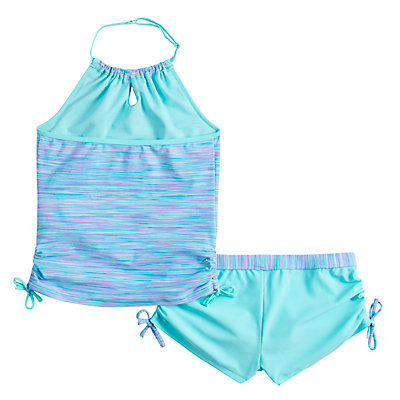 Girls 4-16 Free Country Space Dye Halter Tankini Top & Bottoms Swimsuit Set