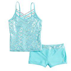 72358bfd3b692 Girls 4-16 Free Country Shiny Seashell Crisscross Tankini Top   Bottoms  Swimsuit Set