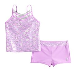 Girls 4-6x Free Country Shiny Seashell Crisscross Tankini Top & Bottoms Swimsuit Set