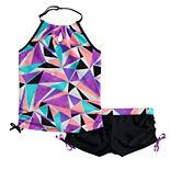 Girls 7-16 Free Country Diamond Reef Halter Tankini Top & Shorts Bottoms Swimsuit Set