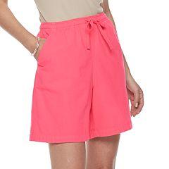 Petites Gloria Vanderbilt Lucy Sheeting Drawstring Shorts