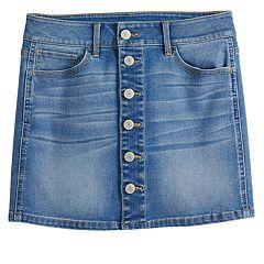 Girls 7-16 & Plus Size SO® Button Jean Skirt