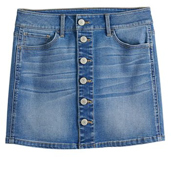 Girls 7-16 & Plus Size SO® Button Jean Skirt