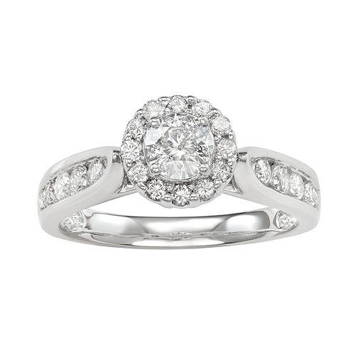 14k White Gold 1 Carat T.W. Diamond Halo Ring