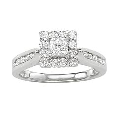 14k White Gold 1 Carat T.W. Diamond Square Halo Ring