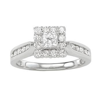 14k White Gold 1 Carat T.W. Diamond Square Halo Ring