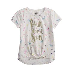 Girls 4-12 Jumping Beans® Graphic Knot-Front Tee