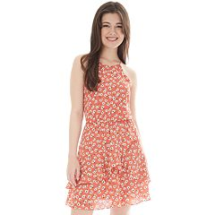 Juniors' IZ Byer Cutaway Halter Double Ruffle Dress