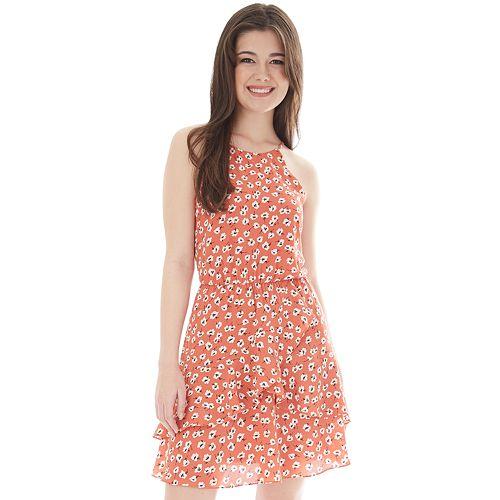 bd2a22522 Juniors' IZ Byer Cutaway Halter Double Ruffle Dress